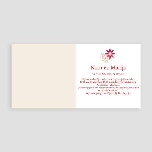 Trouwkaarten - Bloemen op licht beige 10531 thumb