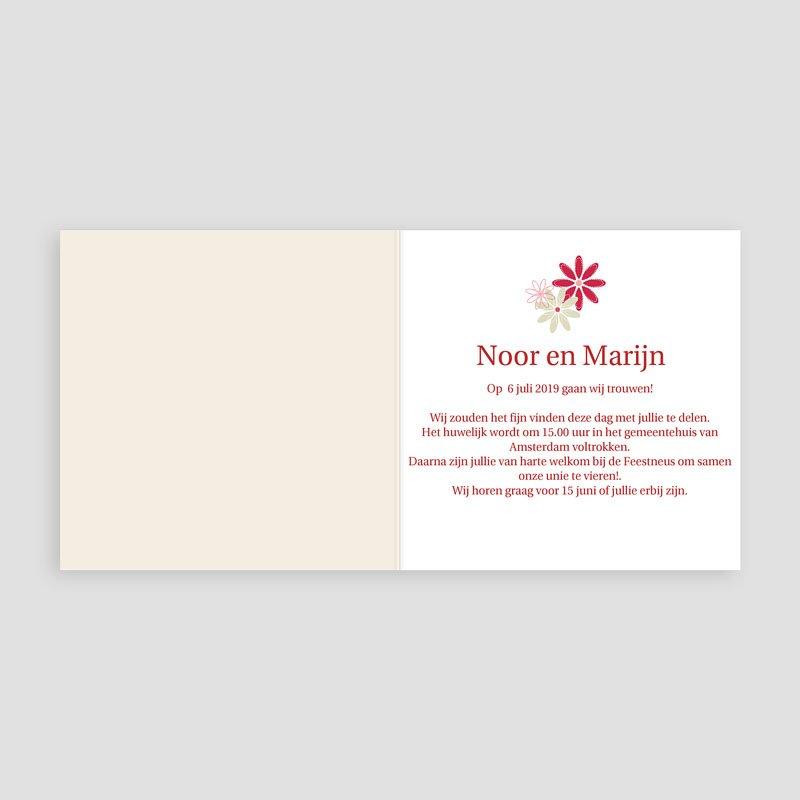 Trouwkaarten Rood Wit Bloemen op licht beige pas cher