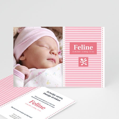 Geboortekaartje meisje - Roze aandenker 10679 thumb