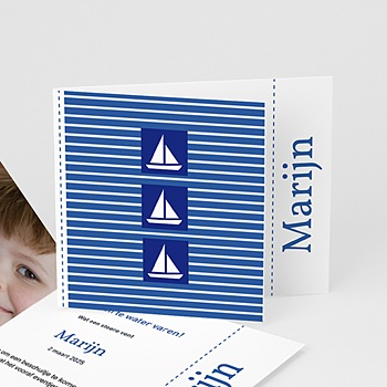 Geboortekaartje jongen - Maritiem, blauw - 1
