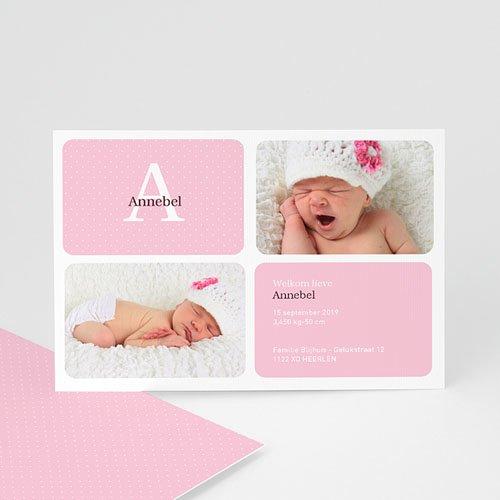 Geboortekaartje meisje - Geluksgetal vier, roze 10691 thumb