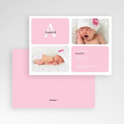 Geboortekaartje meisje - Geluksgetal vier, roze 10692 thumb