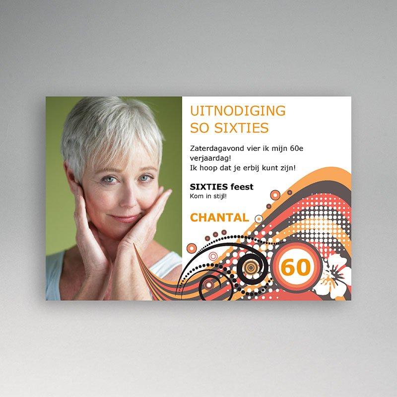 Verjaardagskaarten volwassenen - Hippe retro uitnodiging 10693 thumb