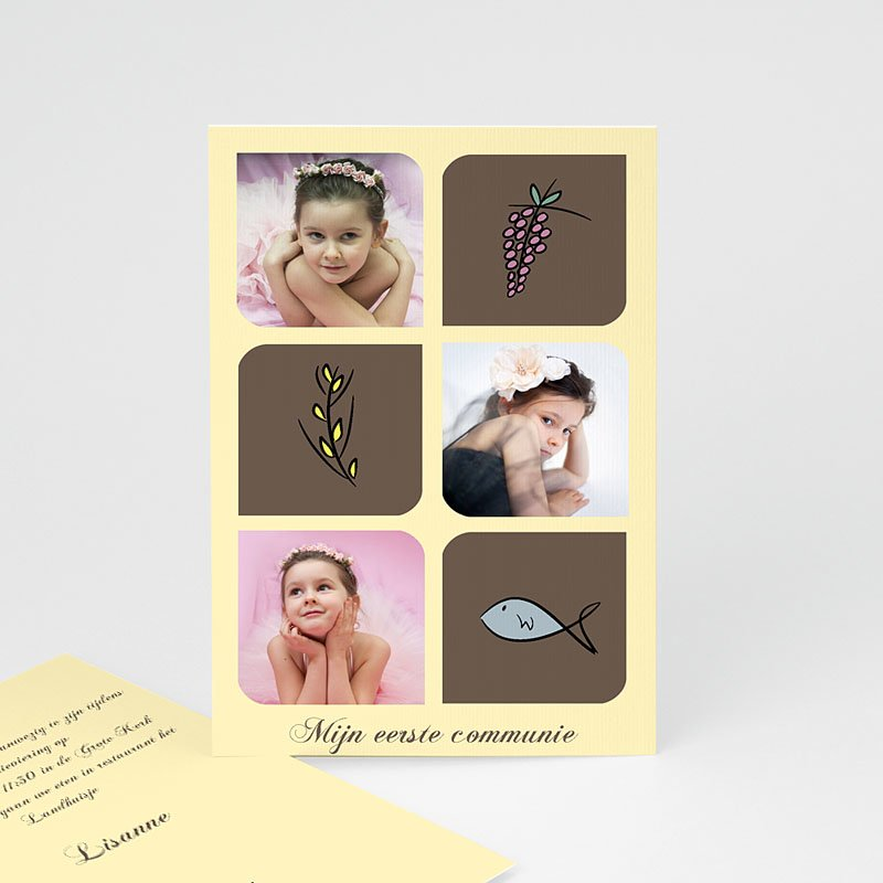 Uitnodigingen Communie Meisje Foto's en symbolen