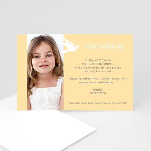 Uitnodiging communie meisje Eerste communie