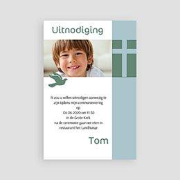 Uitnodiging communie jongen Communieviering staand