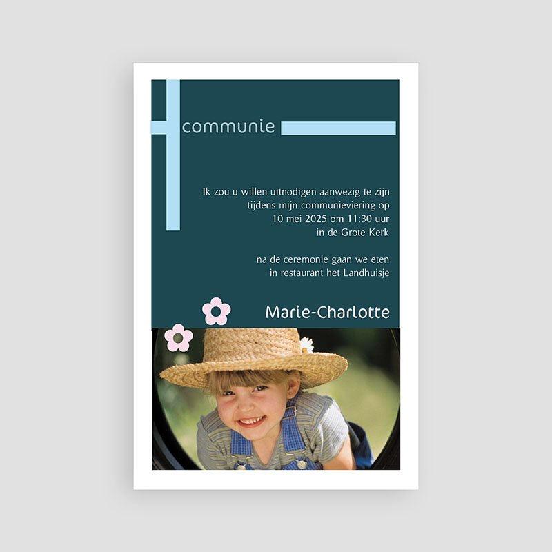 Uitnodiging communie meisje - Origineel en speels 10709 thumb