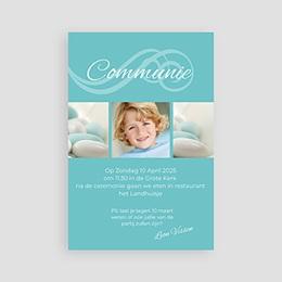 Uitnodiging communie jongen Turquoise en bruidsuiker