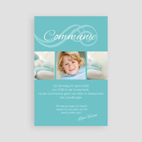 Uitnodiging communie jongen - Turquoise en bruidsuiker 10711 thumb