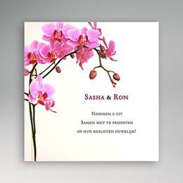 Uitnodiging Roze orchidee