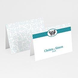Plaatskaartjes Blauw bloemetjesbehang
