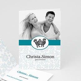 Personaliseerbare trouwkaarten - Blauw bloemetjesbehang - 1