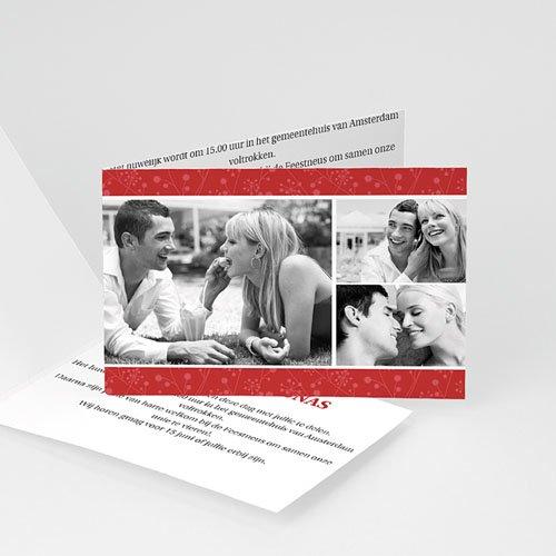 Trouwkaarten met Foto Uitzicht in rood