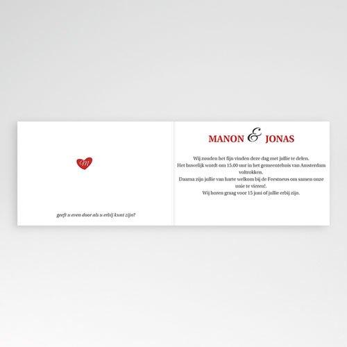 Trouwkaarten met Foto Uitzicht in rood pas cher