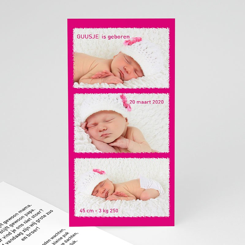 Geboortekaartjes Meisje Roze torentje