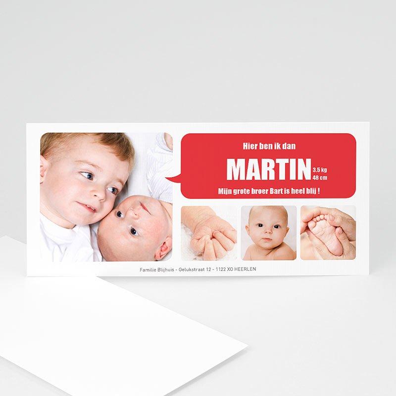 Geboortekaartje jongen - Beeldboekje in rood 10757 thumb