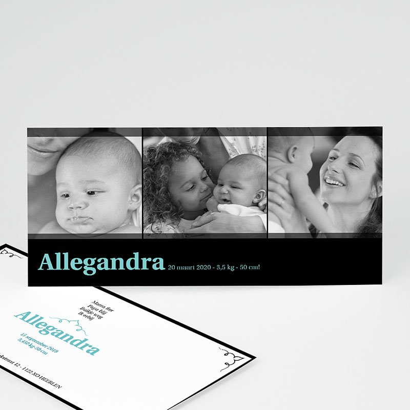 Geboortekaartje meisje - Zwartblauw panorama 10759 thumb