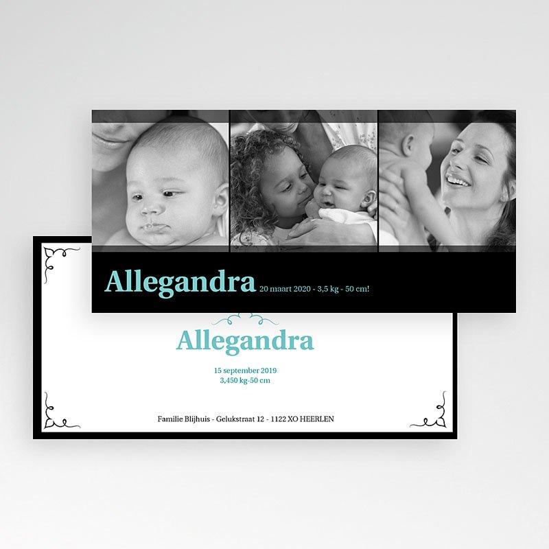 Geboortekaartje meisje - Zwartblauw panorama 10760 thumb