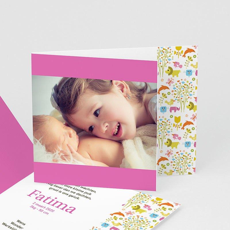 Geboortekaartjes Meisje Roze dierentuin