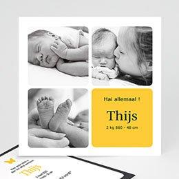 Geboortekaartje meisje Vier foto's vormgeving