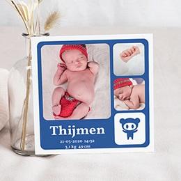 Geboortekaartje jongen Vierkant de beste, blauw