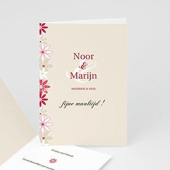 Personaliseerbare menukaarten huwelijk - Bloemen op licht beige - 1