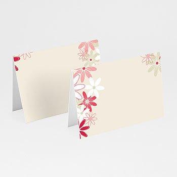 Personaliseerbare plaatskaartjes huwelijk - Bloemen op licht beige - 1