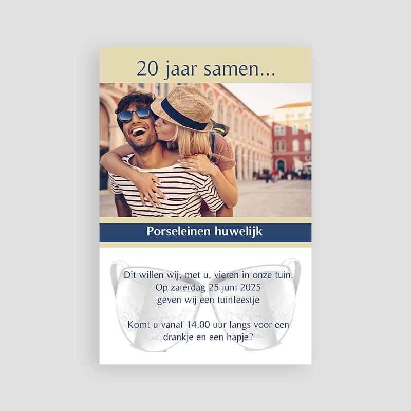 Jubileumkaarten huwelijk - 20 jaar getrouwd, porselein 10930 thumb
