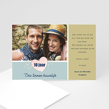 Jubileumkaarten huwelijk - 10 jaar huwelijk, pastel - 1