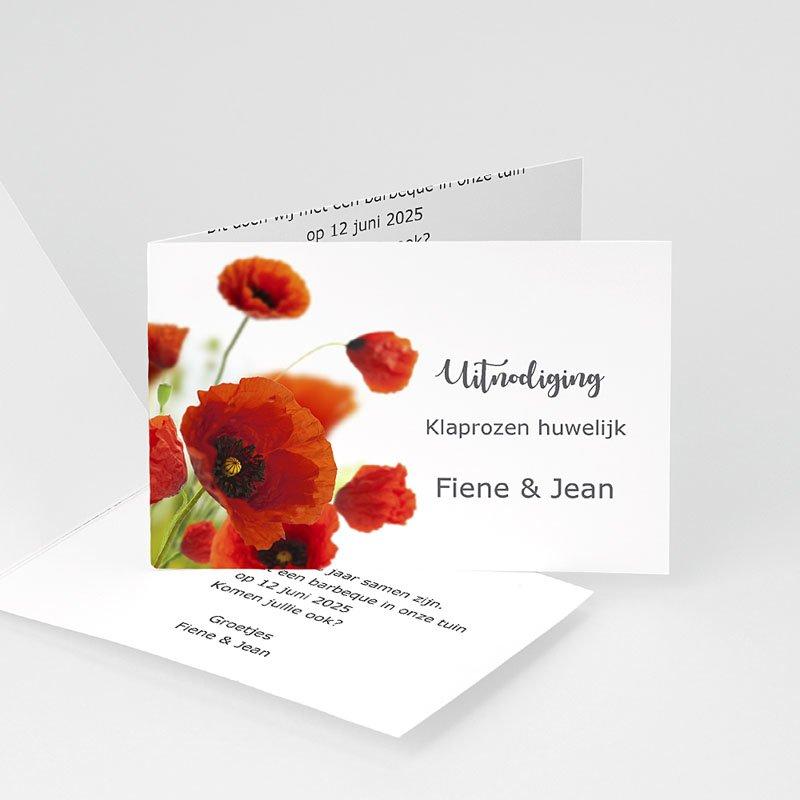 Jubileumkaarten huwelijk - Klaprozen uitnodiging 10938 thumb