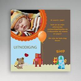Uitnodiging Verjaardag kind Speelgoed blauw