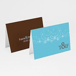 Personaliseerbare plaatskaartjes huwelijk Turquoise en chocolade