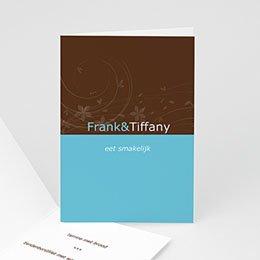 Personaliseerbare menukaarten huwelijk Turquoise en chocolade