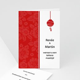 Personaliseerbare menukaarten huwelijk Rode lampion