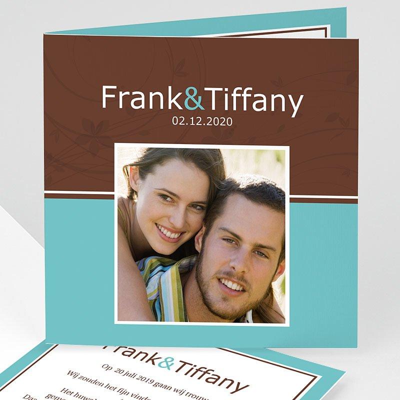 Trouwkaarten met Foto Turquoise en chocolade