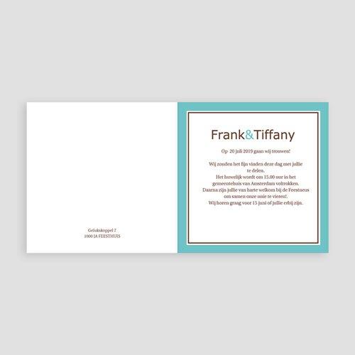 Trouwkaarten met Foto Turquoise en chocolade pas cher