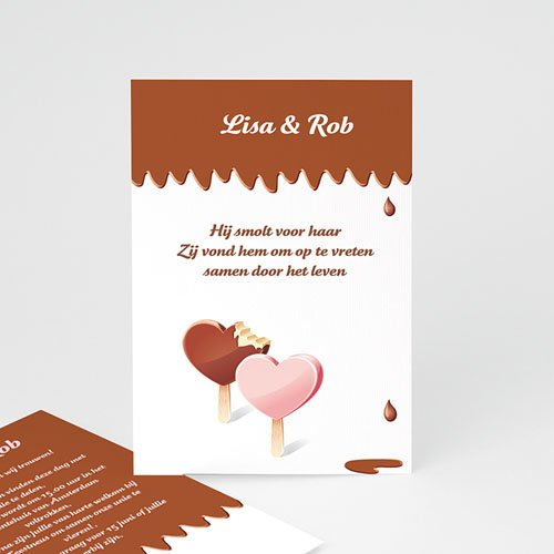 Trouwkaarten - Gesmolten chocolade 11044 thumb