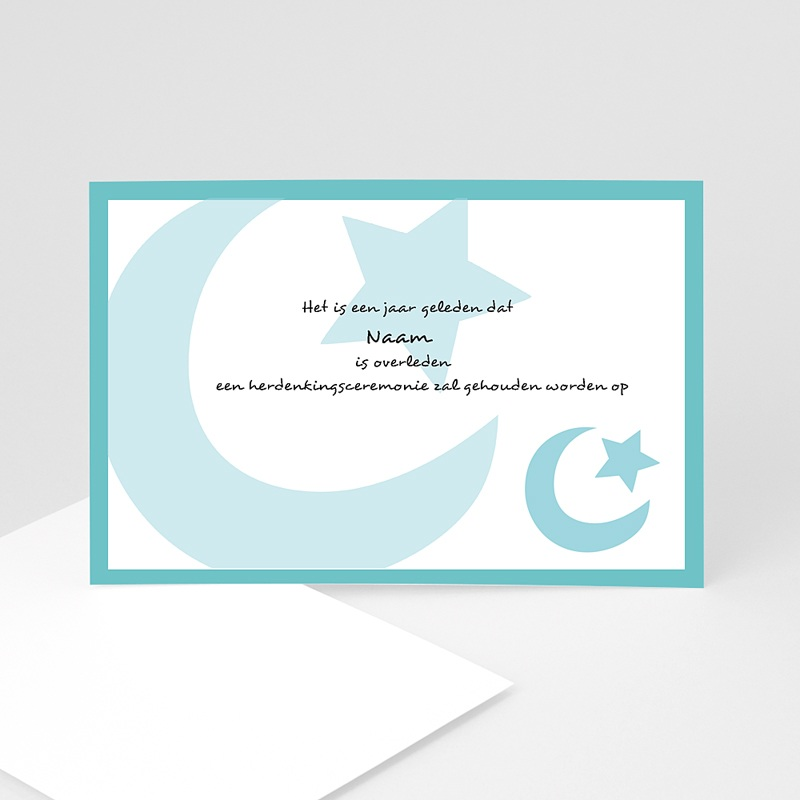 Bedankkaarten overlijden, Islamistisch - Grote maan en ster, blauw 11080 thumb