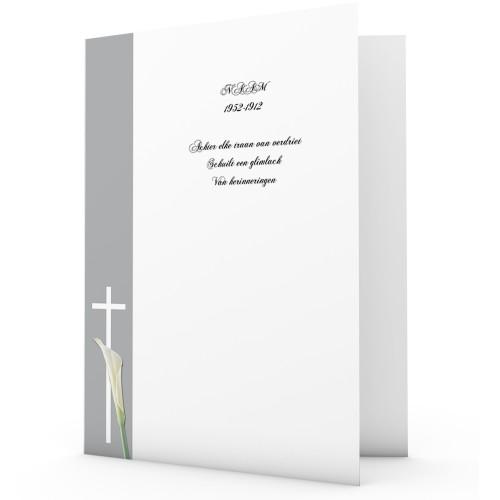 Bedankkaarten overlijden, Christelijk - Lichtgrijs met aronskelk 11084 thumb