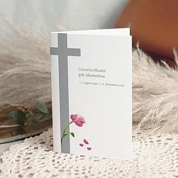 Bedankkaarten overlijden, Christelijk - Met rode roos - 1