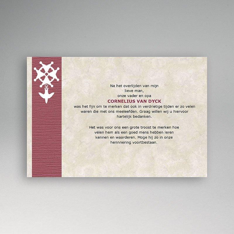 Bedankkaarten overlijden, Christelijk - Hugenotenkruis, rood 11112 thumb