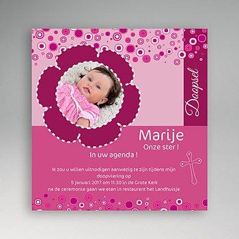 Doopkaartje meisje - Roze retro doop - 1