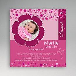 Doopkaartje meisje Roze Poppi doop