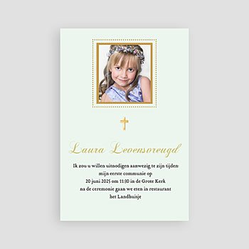 Uitnodiging communie meisje - Licht groene communie - 1