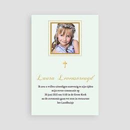 Uitnodiging communie meisje Licht groene communie