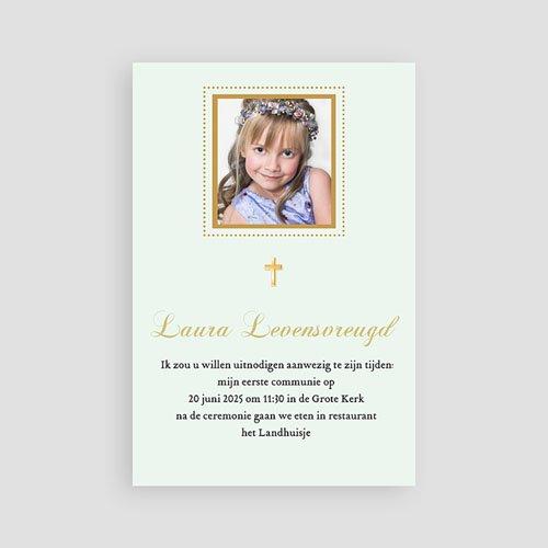 Uitnodigingen Communie Meisje Licht groene communie