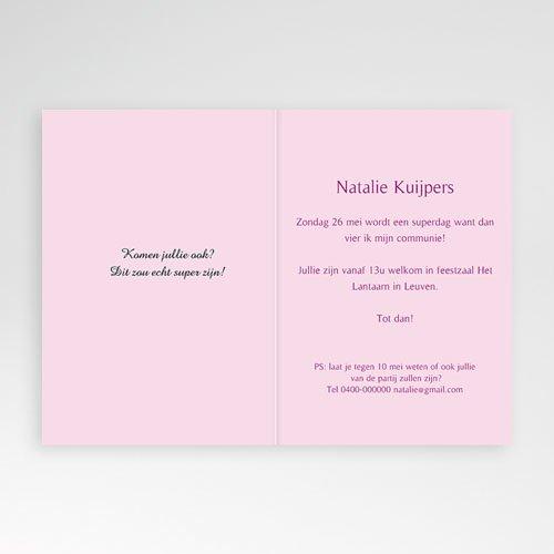 Uitnodiging communie meisje -  Verticale tinten communie 11167 thumb