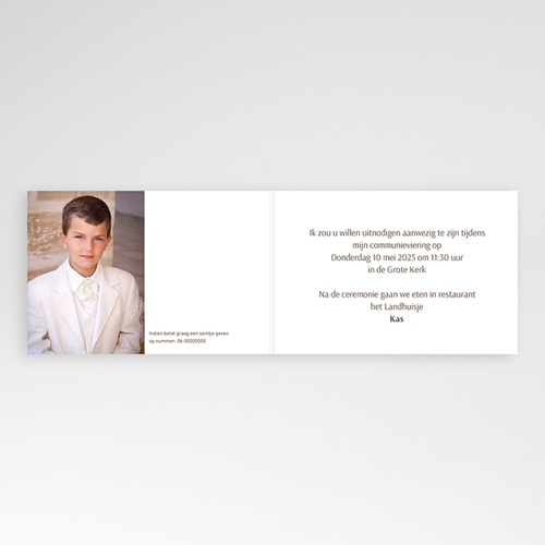 Uitnodiging communie jongen Communie design pas cher