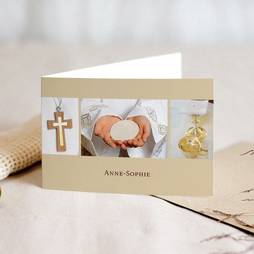Uitnodiging communie meisje De hand van de Heer