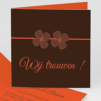 Trouwkaartjes zonder foto - Bruin en oranje klavertjes vier - 1